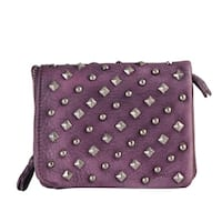Diophy Stylish Stud Square Real Leather Wallet Purse