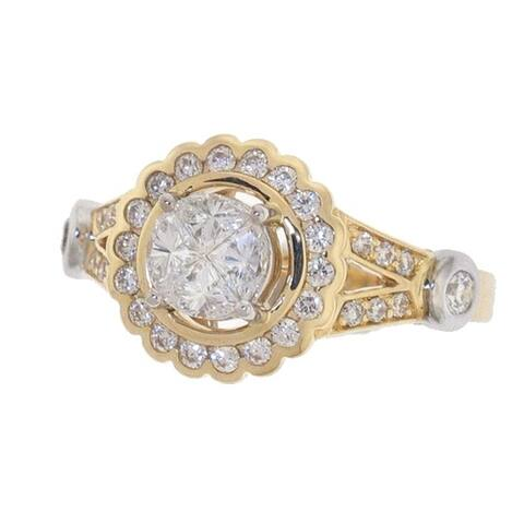 14K Two-Tone Gold 1ct TDW Diamond Wedding Ring - White