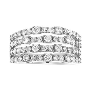 14K White Gold 1.33ct TDW Multi Band Eternity Stackable Diamond Ring