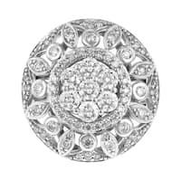 14K White Gold 1.5ct TDW Floral Medallion Diamond Ring