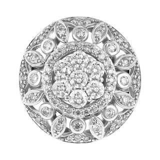 14K White Gold 1.5ct TDW Floral Medallion Diamond Ring