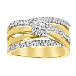 14K Yellow Gold 3/4ct TDW Criss-Cross Diamond Band Ring - White (3 options available)