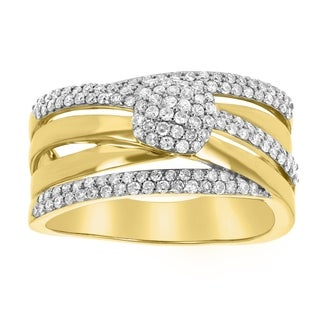14K Yellow Gold 3/4ct TDW Criss-Cross Diamond Band Ring - White