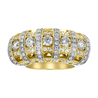 14K Yellow Gold 2ct TDW Pave Diamond Cocktail Ring - White