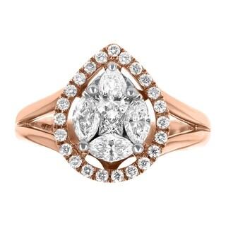 14K Rose Gold 1ct TDW Diamond Pear Shape Engagement Ring - White