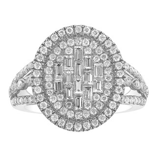 14K White Gold 1 1/4ct TDW Multi Baguette Halo Diamond Ring