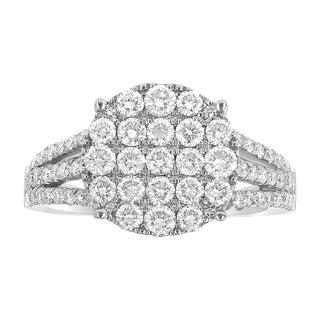 14K White Gold 1.6ct TDW Triple Split Shank Diamond Fashion Ring