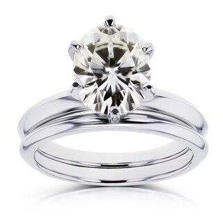 Annello by Kobelli 14k White Gold 2 1/10 Carat Oval Moissanite 6-prong Solitaire Bridal Set (More options available)