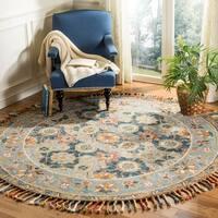 Safavieh Handmade Aspen Bohemian & Eclectic Grey/ Navy Wool Tassel Rug - 7' x 7' Round