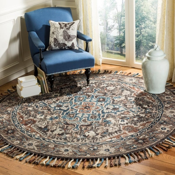 Safavieh Handmade Aspen Bohemian Charcoal/ Light Brown Wool Rug - 7' x 7' Round