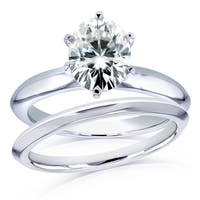 Annello by Kobelli 14k White Gold 1 1/2 Carat Oval Moissanite 6-prong Solitaire Bridal Set