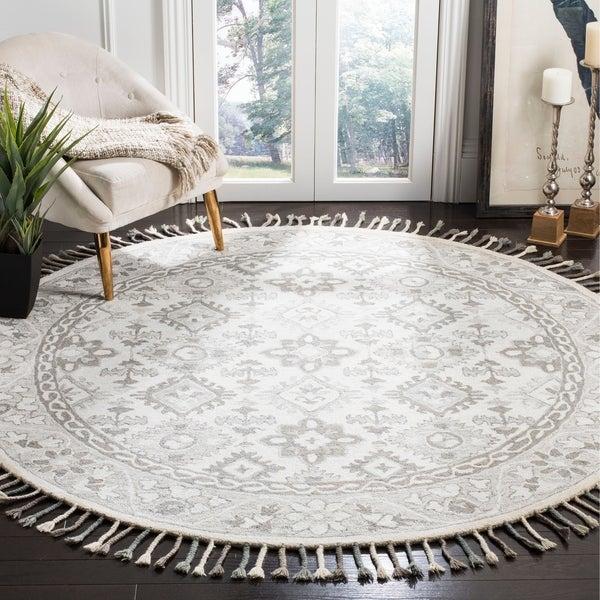 Safavieh Handmade Aspen Bohemian Light Grey/ Grey Wool Rug - 7' Round