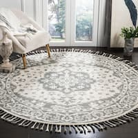 Safavieh Handmade Aspen Bohemian Grey/ Light Grey Wool Rug - 7' x 7' Round