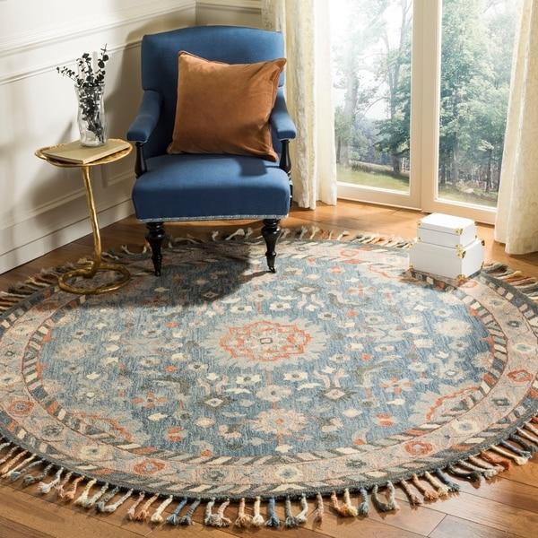 Safavieh Handmade Aspen Bohemian Blue/ Rust Wool Rug - 7' Round