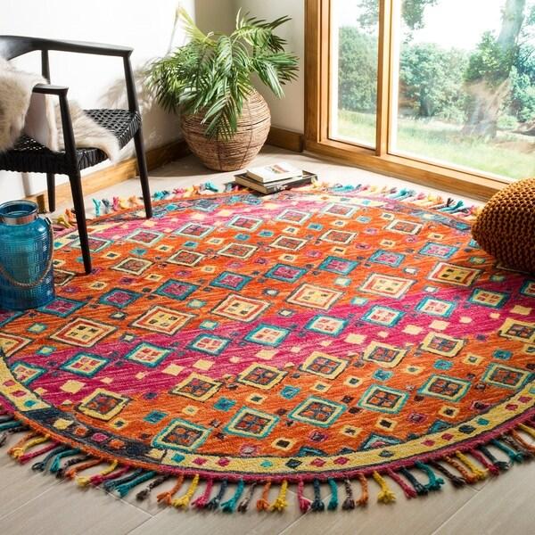 Safavieh Handmade Aspen Bohemian Orange/ Fuchsia Wool Rug - multi - 7' Round