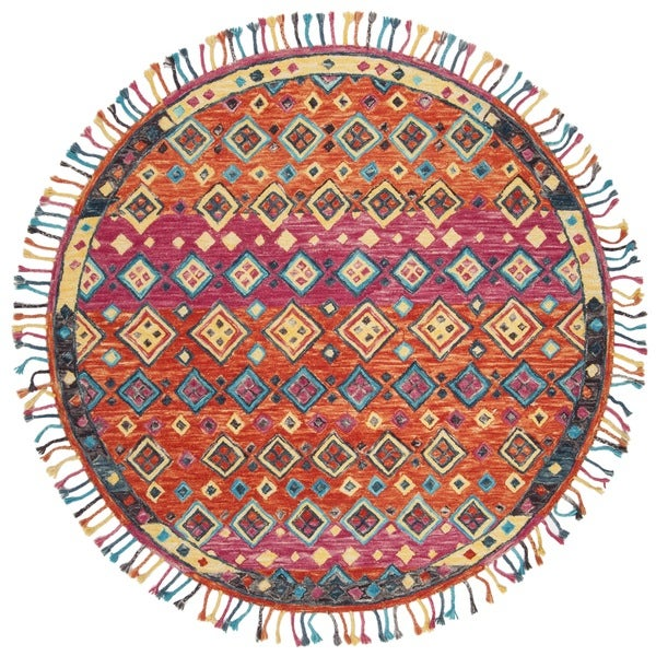 Safavieh Handmade Aspen Bohemian Orange/ Fuchsia Wool Rug - 7' Round