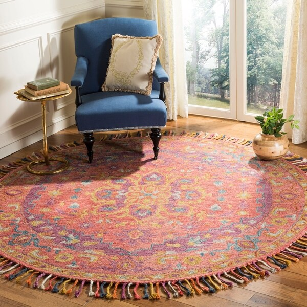 Safavieh Handmade Aspen Bohemian Pink/ Violet Wool Rug - 7' Round