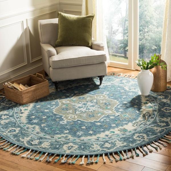 Safavieh Handmade Aspen Dark Blue/ Grey Wool Rug - 7' Round