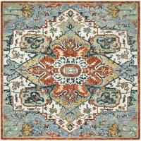 Safavieh Handmade Aspen Blue/ Rust Wool Rug - 7' x 7' Square