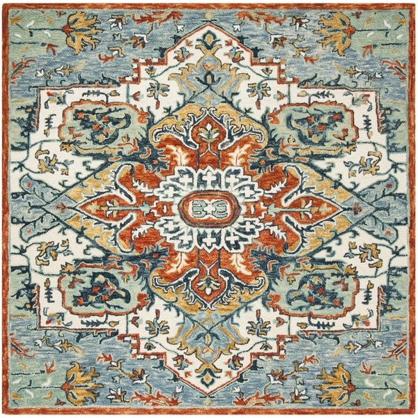 Safavieh Handmade Aspen Blue/ Rust Wool Rug - 7' Square