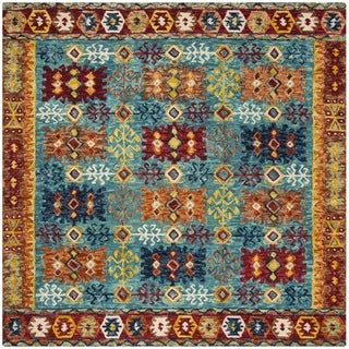 Safavieh Handmade Aspen Bohemian Blue/ Red Wool Rug (7' Square)