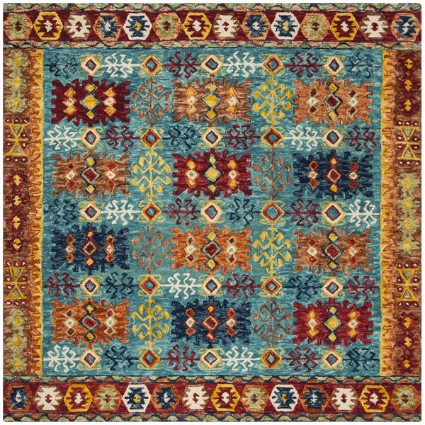 Safavieh Handmade Aspen Bohemian Blue/ Red Wool Rug - 7' Square
