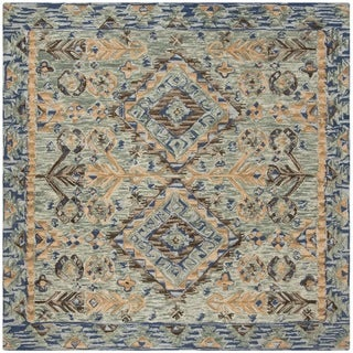 Safavieh Handmade Aspen Blue/ Beige Wool Rug (7' Square)