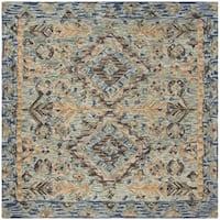 Safavieh Handmade Aspen Blue/ Beige Wool Rug - 7' Square