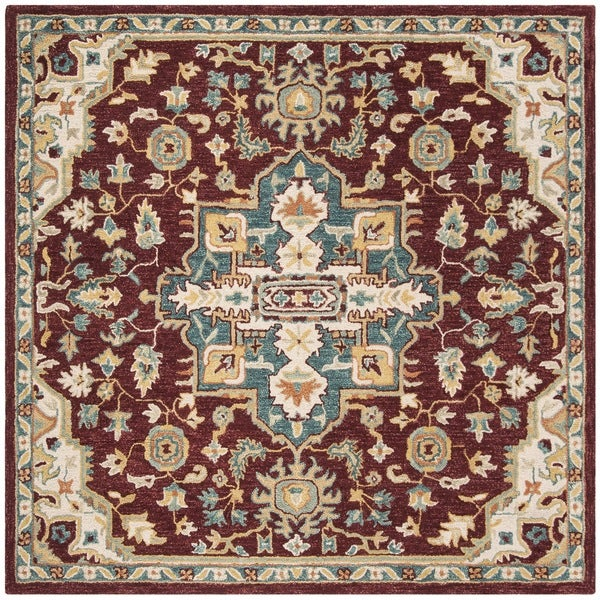 Safavieh Handmade Aspen Red/ Blue Wool Rug (7' Square)