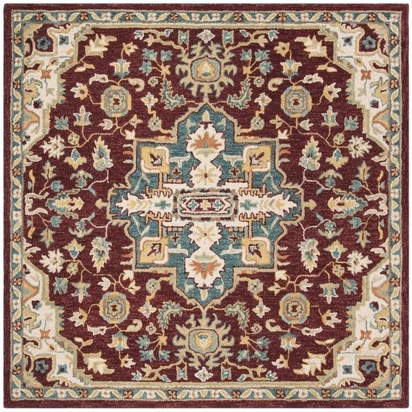 Safavieh Handmade Aspen Red/ Blue Wool Rug - 7' x 7' Square