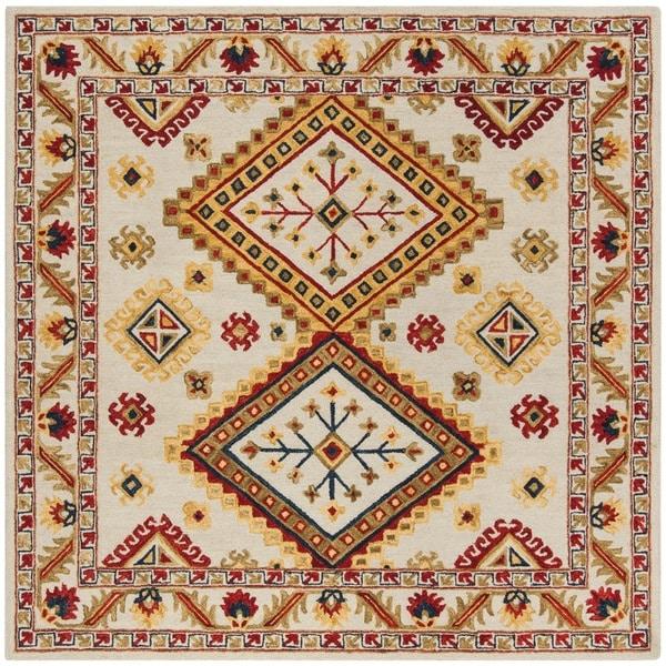 Safavieh Handmade Aspen Bohemian Ivory/ Multi Wool Rug - 7' Square