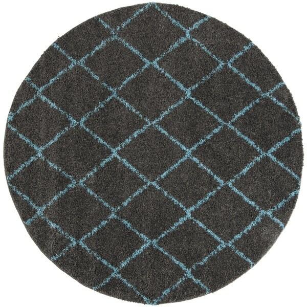 Safavieh Arizona Shag Grey/ Turquoise Rug - 6'7 Round