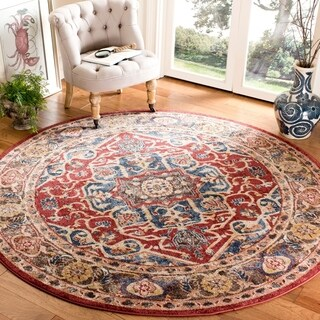 Safavieh Bijar Red/ Royal Rug (6'7 Round)