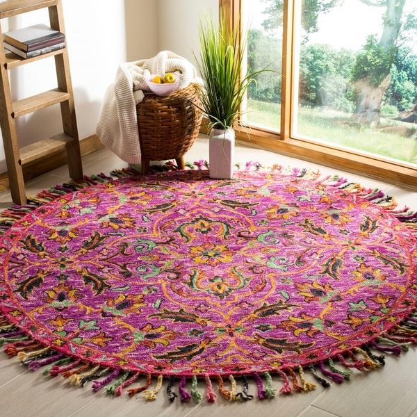 Safavieh Handmade Blossom Purple/ Multi Wool Rug - 6' Round