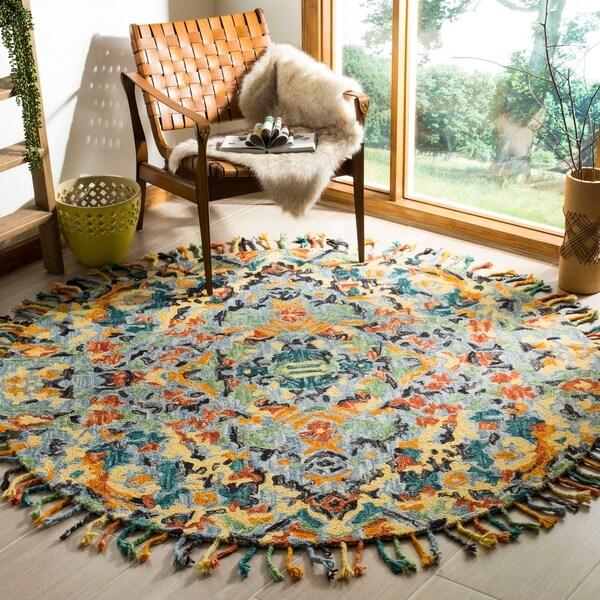 Safavieh Handmade Blossom Blue/ Multi Wool Rug - 6' Round