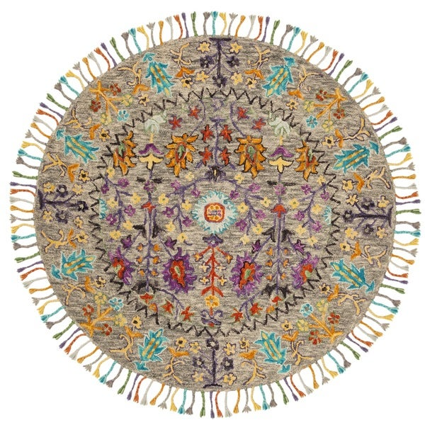 Safavieh Handmade Blossom Grey/ Multi Wool Rug - 6' Round