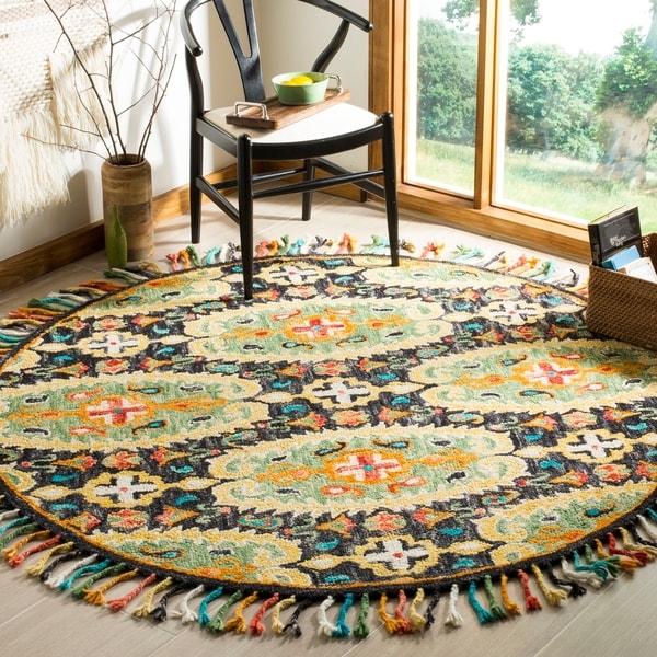 Safavieh Handmade Blossom Charcoal/ Gold Wool Rug - 6' Round