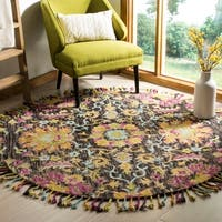 Safavieh Handmade Blossom Charcoal/ Multi Wool Rug - 6' Round