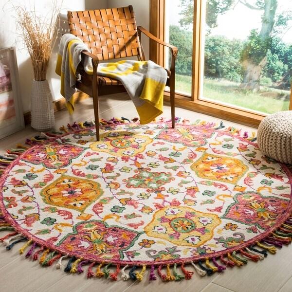 Safavieh Handmade Blossom Ivory/ Multi Wool Rug - 6' Round