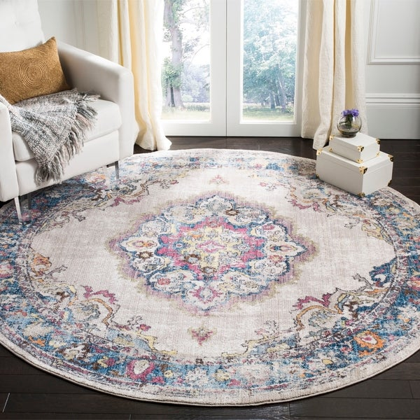 Safavieh Bristol Vintage Light Grey/ Blue Polyester Rug - 7' Round