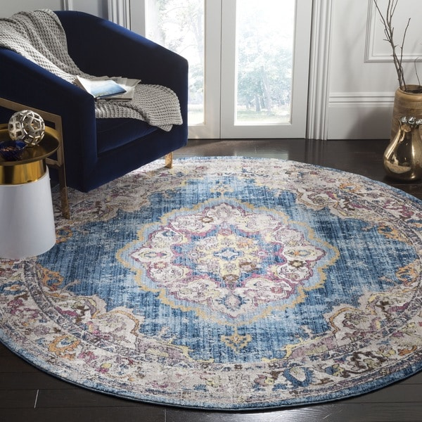 Safavieh Bristol Vintage Blue/ Light Grey Polyester Rug (7' Round)