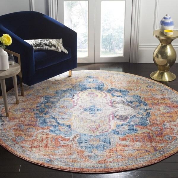 Safavieh Bristol Vintage Blue/ Orange Polyester Rug - 7' Round