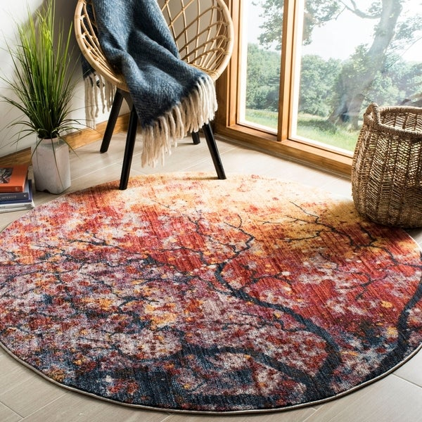 Safavieh Calista Lavender/ Rust Polyester Rug - 6' x 6' Round