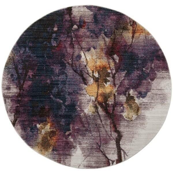 Safavieh Calista Ivory/ Lavender Polyester Rug - 6' Round