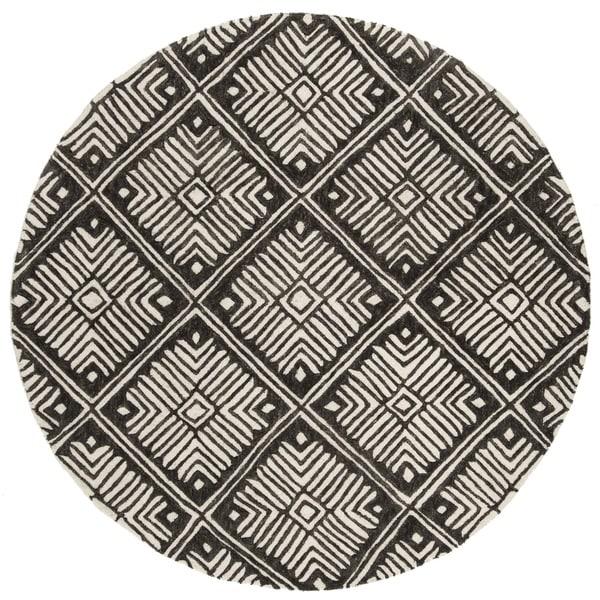 Safavieh Handmade Cambridge Ivory/ Charcoal Wool Rug - 6' Round