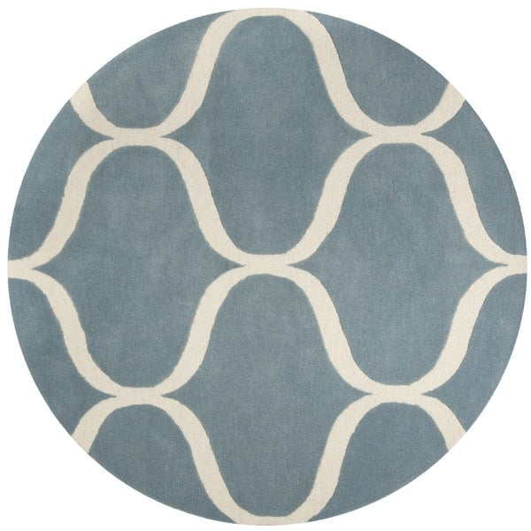 Safavieh Handmade Cambridge Light Blue/ Ivory Wool Rug - 6' Round