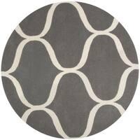 Safavieh Handmade Cambridge Dark Grey/ Ivory Wool Rug - 6' Round