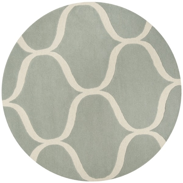 Safavieh Handmade Cambridge Grey/ Ivory Wool Rug - 6' x 6' Round