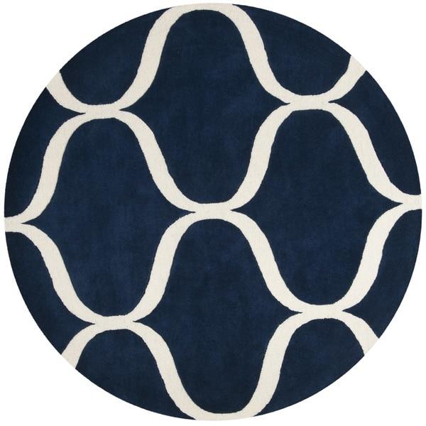 Safavieh Handmade Cambridge Dark Blue/ Ivory Wool Rug - 6' Round