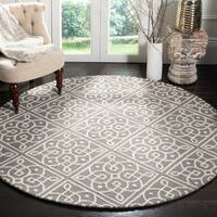 Safavieh Handmade Cambridge Dark Grey/ Ivory Wool Rug - 6' X 6' Round